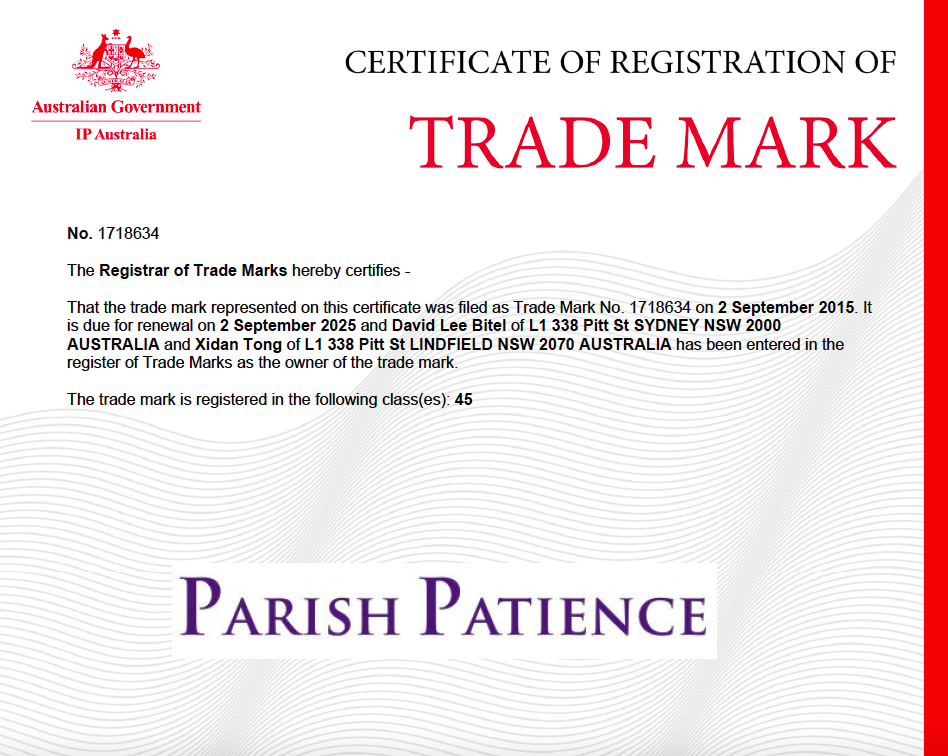 Parish Patience trade mark1